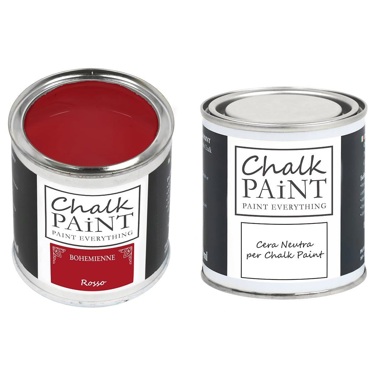 Rosso Chalk paint e cera in offerta decora facile con paint magic