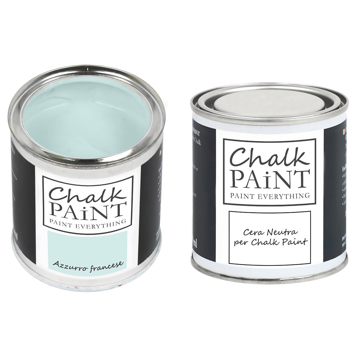 Chalk Paint Azzurro francese + Cera Shabby